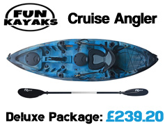 Fun Kayaks Cruise Angler Fishing Kayak Packages from £299 available at Brighton Canoes