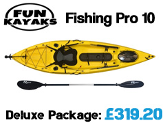 Fun Kayaks Fishing Pro 10 Sit On Top Kayak Packages from £399 available at Brighton Canoes